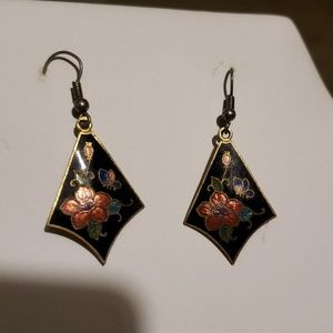 Vintage Floral Inlaid Earrings
